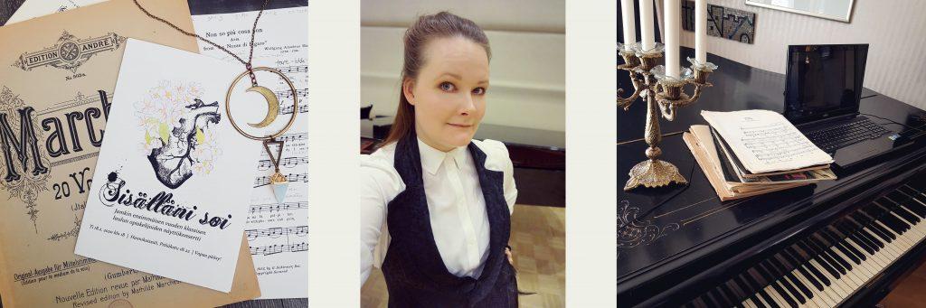 Kuvituskuva - Nuottipino, konserttijuliste, selfie